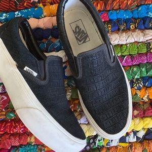 Vans Black Snakeskin Platform Slip On Sneakers